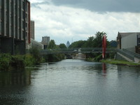 The Hertford Union Canal, with the Gherkin in the background