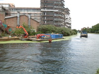 Canal-cleaning boats in Hackney Wick
