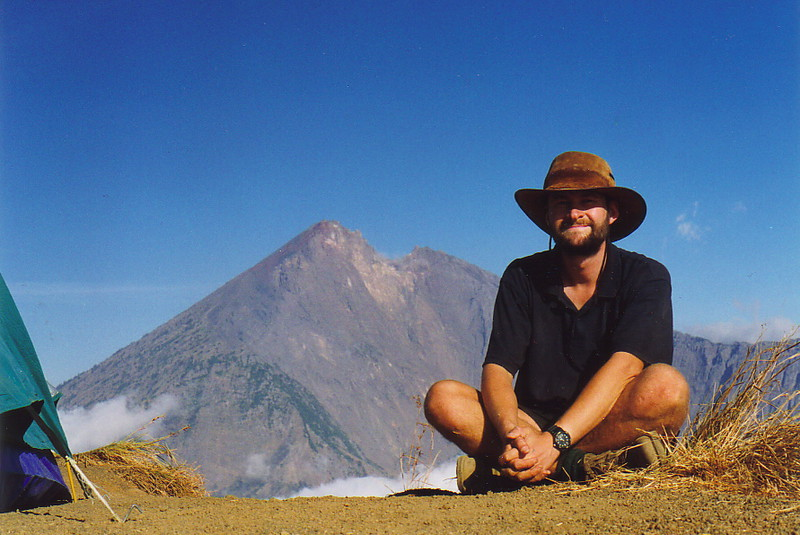 Mark on the first rim of Gunung Rinjani