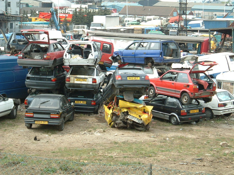 A pile of cars east of Erith