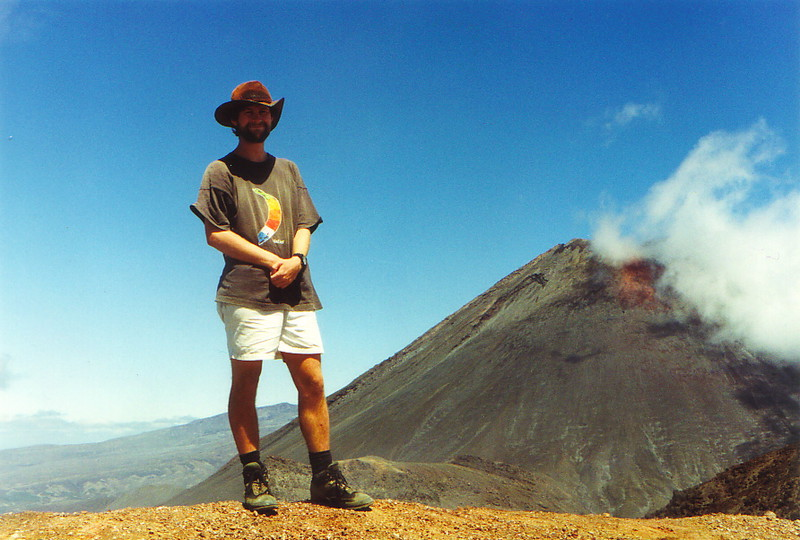 Mark posing in front of Mt Ngauruhoe